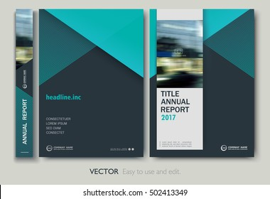 Layout annual report, flyer, presentation, brochure. Front page, book cover layout design. Design layout template in A4 size . Abstract blue green templates
