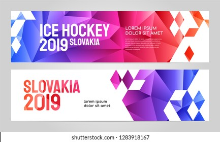 Layout banner template design for sport event, tournament, championship or ice hockey. Slovakia 2019.