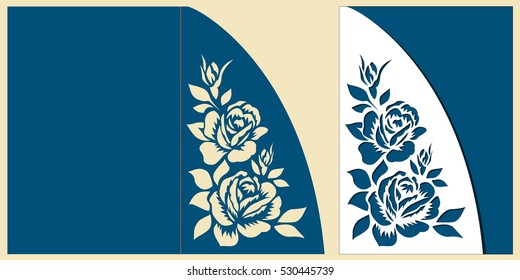 Layout congratulatory laser cut card with roses bouquet. Template is suitable for wedding greeting or birthday card, invitation, etc. Picture suitable for laser or plotter cutting.