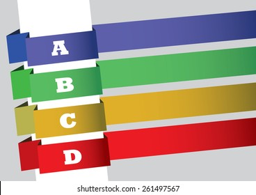 Layout design with four slanted strips of colorful banners numbered with uppercase alphabets and copy space. Vector abstract background for sequential index, content page or list.