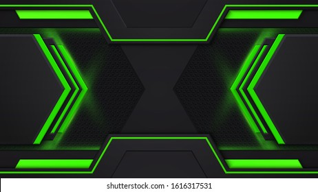 Layout design tech. Green and black contrast abstract technology background. Green backlight. Vector corporate design.
