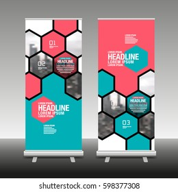 Layout Design Template, Cover Book, Colorful ,banner,roll up,Gexagon, Abstact Background.