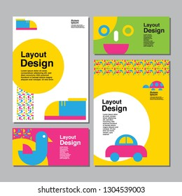 Layout Design, Template Stationary, Colorful, Kids, vector illustration.