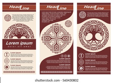 Layout flyers in Celtic style with a national ornament.
