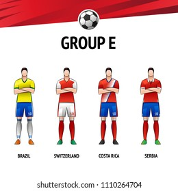 The layout of the football uniform of group E. The final of the football tournament 2018. Vector illustration.