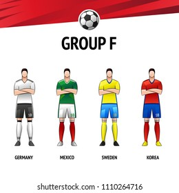 The layout of the football uniform of group F. The final of the football tournament 2018. Vector illustration.