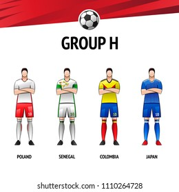 The layout of the football uniform of group H. The final of the football tournament 2018. Vector illustration.