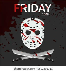 Layout of Friday the 13th vector concept with bloody hockey mask, isolated in black background with Friday the 13th text. EPS 10.
