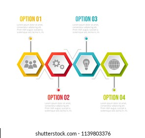 Layout of infographic with business icons. Vector.