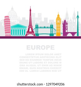 The layout of the leaflets with the architectural landmarks to Europe and a place for text