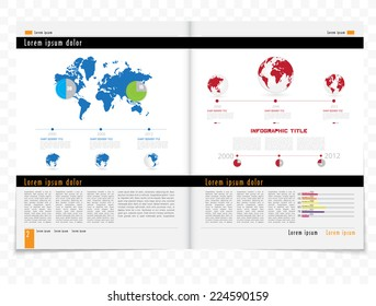 Layout magazine with timeline infographics vector