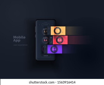 Layout mobile app. A mobile device with a user interface layout with active blocks in layers. User experience design. Vector illustration.