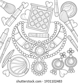 Layout with necklaces, earrings and makeup.Coloring book antistress for children and adults. Illustration isolated on white background.Zen-tangle style. Hand draw