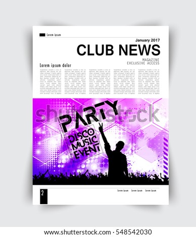 Layout Page Music Magazine Vector Stock Vector (Royalty Free