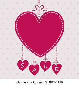 Layout of poster with hearts for a sale. Valentine's Day, Mother's Day and Women's Day.