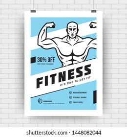 Layout poster template design for fitness sport event, tournament or championship flyer modern typography cover vector illustration with bodybuilder man symbol silhouette.