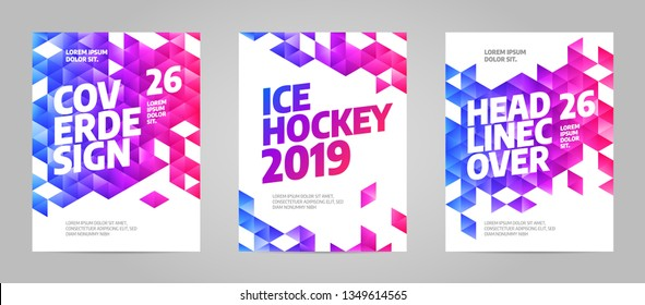 Layout poster template design for sport event, tournament, championship or ice hockey.