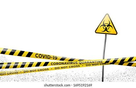 Layout of the quarantine area of coronavirus epidemic covid-19. Coronavirus quarantine warning tapes and biohazard sign. Pandemic covid 19. Epidemic barrage lines. Vector grunge template