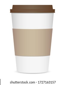 Layout of a realistic coffee cup with a brown lid and a cup holder. Front view. Isolated on white background. Vector illustration