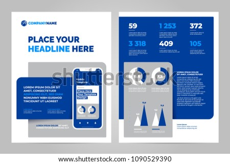 layout template design mobile application business stock vector