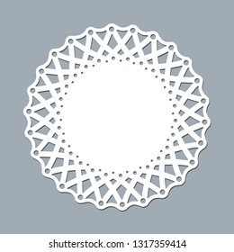 Layout template lace napkin for laser paper cutting Round pattern ornament Mockup of a white lace doily napkin lasercut frame Design element for lasercut invitation banner Vector laser cut round doily