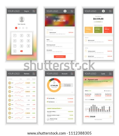 layout template user interface mobile application stock vector