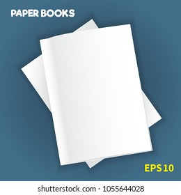 The layout of the two white soft-cover books, one on top of the other, lie on the table. Soft shadows. Ready to insert text or image. Isolated on a blue background. Vector illustration.
