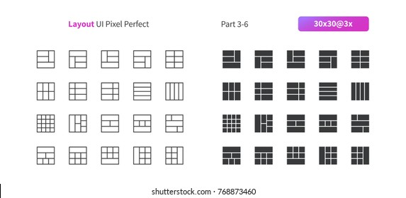 Layout UI Pixel Perfect Well-crafted Vector Thin Line And Solid Icons 30 3x Grid for Web Graphics and Apps. Simple Minimal Pictogram Part 3-6