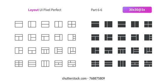 Layout UI Pixel Perfect Well-crafted Vector Thin Line And Solid Icons 30 3x Grid for Web Graphics and Apps. Simple Minimal Pictogram Part 6-6