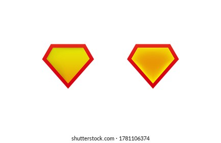 Layouts superman shield icon with shadow. Superhero label mockups. Vector on isolated white background. EPS 10.