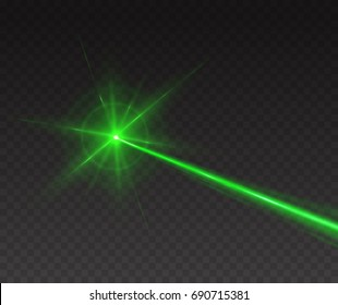 Lazer beam spark isolated on transparent background. Abstract green shine light ray with glow flash. Vector lime neon laser line effect for your design.