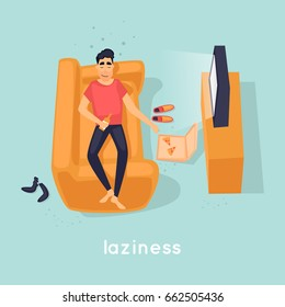 Laziness guy is lying on the couch. Flat vector illustration in cartoon style.