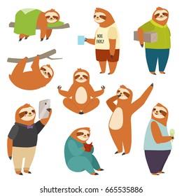 Laziness sloth animal character different human pose lazy cartoon kawaii wild jungle mammal flat design vector illustration people life role