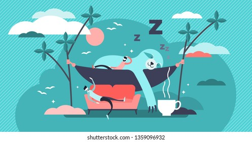 Laziness vector illustration. Flat tiny sleepy animal and persons concept. Comfortable sofa and exhausted businessman laying near mammal sloth. Compared tired human and wildlife with coffee for energy