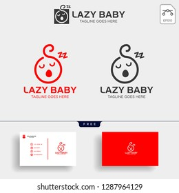 Lazy baby, lazy child creative logo template vector illustration, icon elements isolated with business card