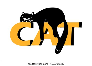 a lazy black cat is lying on the inscription in large letters cat .Vector illustration in the style of a cartoon.isolated on a white background. suitable for postcards, cap designs, posters, mugs.