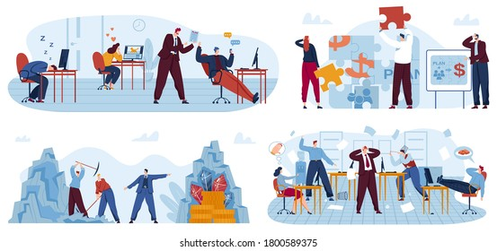 Lazy business office workers vector illustration set. Cartoon flat bad employees people relax and procrastinate at workplace instead of work, angry businessman leader boss conflicts isolated on white