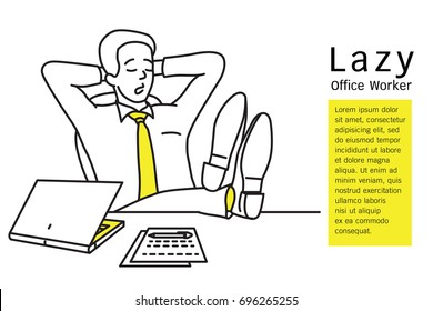 Lazy businessman, office worker, sleeping at workplace by putting shoes on table in comfortable gesture. Outline, contour, line art, hand drawn, sketch design, simple style.