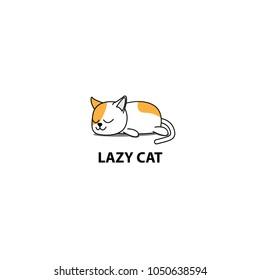 Lazy cat, fat kitten sleeping, logo design, icon vector illustration.