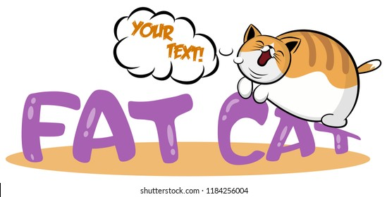 Lazy cat sleeping on the logo. Cute fat kitten lying on stomach cartoon icon. Logotype template with Heavy pet. For emblem or sticker, print, t-shirt, pet shops, veterinary clinics and animal shelters