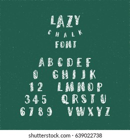 Lazy Chalk Font Calligraphic Hand Drawn Caps and Numerals Retro Style Lettering - White Elements on Green Grunge Background - Vector Typography Design