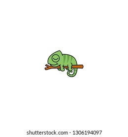 Lazy chameleon sleeping on a branch cartoon, vector illustration