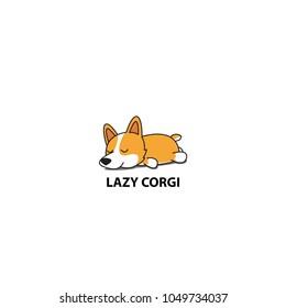 Lazy corgi, cute puppy sleeping icon, logo design, vector illustration