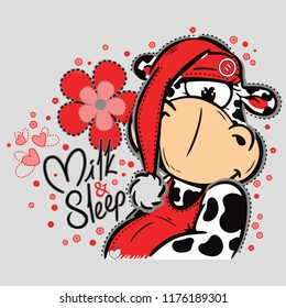 Lazy cow has red hat with around flowers, hearts and texts on grey background. Vector illustration.
