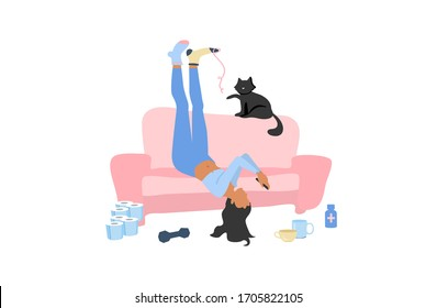 Lazy depressive woman in different socks lying upside down on the couch with smartphone and black cat staying home during coronavirus quarantine. Boring exhausting weekdays in mess.  Apathy concept.