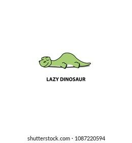 Lazy dinosaur, cute apatosaurus sleeping icon, logo design, vector illustration
