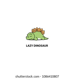 Lazy dinosaur, cute stegosaurus sleeping icon, logo design, vector illustration