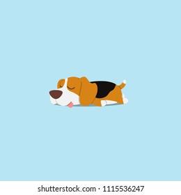 Lazy dog, cute beagle puppy sleeping icon, flat design, vector illustration