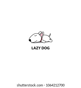 Lazy dog, cute bull terrier puppy sleeping icon, logo design, vector illustration