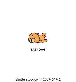 Lazy dog, cute chow chow puppy sleeping icon, logo design, vector illustration